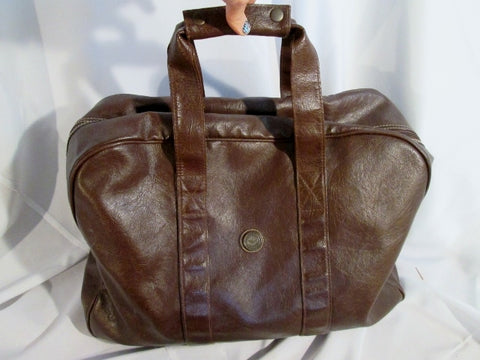 CAPEZIO Faux Leather Duffle Bag Travel Carry-On Overnighter Luggage BROWN Weekender