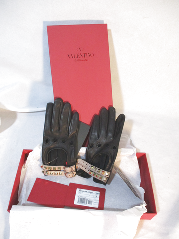 NEW VALENTINO GARAVANI ROCKSTUD Leather Gloves SPIKE 6.5 BLACK GOLD ITALY NWT