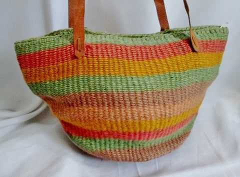 Ethnic Woven Knit Hobo Bucket Sling Shoulder Bag PINK AQUA PURPLE Stripe Boho Leather