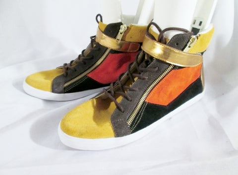 NEW Womens GOT SOUL Suede Leather Sneaker Patchwork Urban 8 BROWN ORANGE