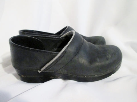 Womens DANSKO Leather Clogs Shoes Slip-On Mules BLACK 41 10.5 BLACK Slides