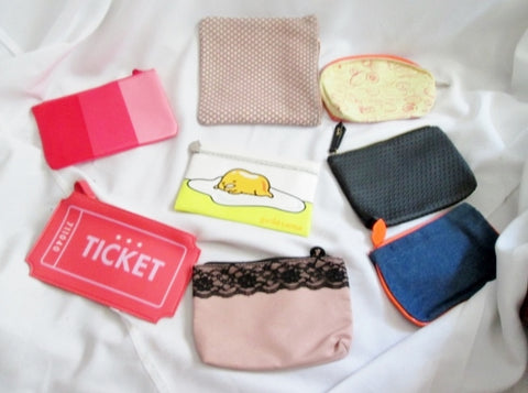 HUGE Set Lot IPSY purse vegan organizer pouch cosmetics case makeup GUDETAMA TICKET