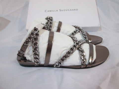 NEW Womens CAMILLA SKOVGAARD BRUSHED STEEL Sandal Shoe 36.5 / 6 SILVER