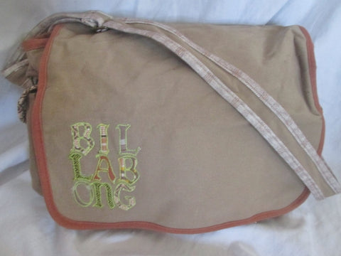 BILLABONG Signature Vegan Book Bag Purse Messenger Crossbody BEIGE CHESTNUT BROWN