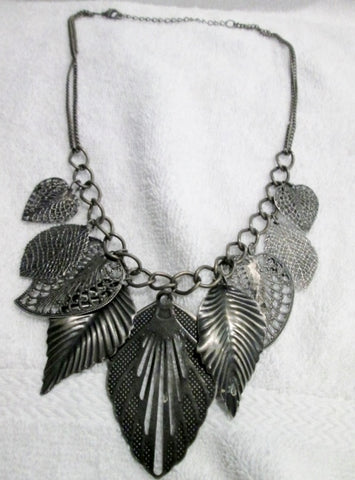 "16.5"" LEAF MEDALLIONS METAL Fringe Chainlink CHARM Statement NECKLACE"