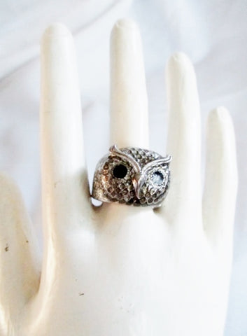 OWL Face Head BIRD PREY NIGHT Ring Sz 9 SILVER BLACK Band Jewelry
