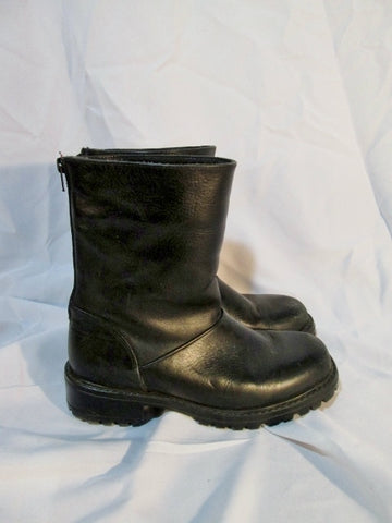 Womens L.L. BEAN 90709 CANADA Lined Leather Booties Boots BLACK 9 Winter