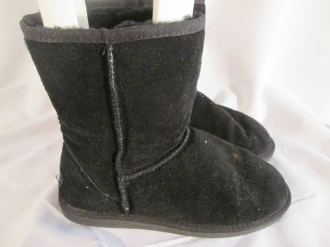Womens BEACH FEET AUSTRALIAN BOOTS Short Suede Winter BLACK 9 SHEEPSKIN WOOL