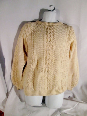 Mens BLARNEY WOOLEN MILLS IRELAND ARAN Sweater Fisherman M Hand Knit ECRU