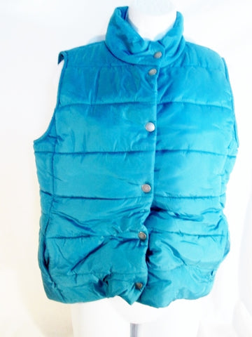 Womens Ladies DAISY FUENTES Vegan Puffer Winter Vest Coat Jacket S SEAFOAM BLUE Lightweight