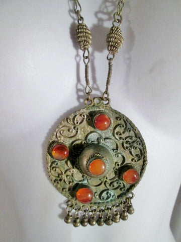 "Wire Wrap Boho 27"" Tier Dangle Runway Ethnic NECKLACE TRIBAL Pendant AGATE Stone"