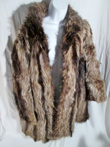 Vintage Womens Mens GENUINE Fur COYOTE Coat Jacket M BROWN Pelt L NEEDS REPAIR