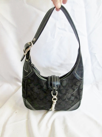 COACH 8K02 SIGNATURE C HAMPTON Jacquard HOBO SHOULDER BAG BLACK Horsebit