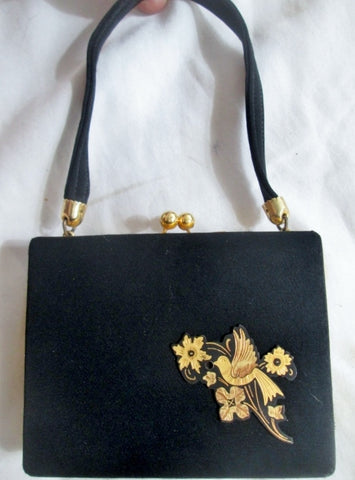 Vtg GOLD BIRD Mini Compact Evening Bag Accessory BLACK Cosmetics Organizer Case