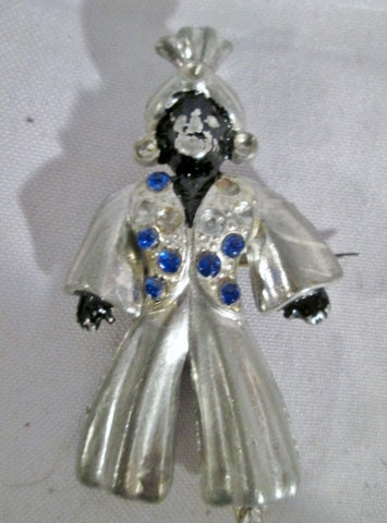 Vintage BLACK MAN Pantaloon Silver Brooch Pin BLACK AMERICANA Jewel Encrusted JEWELRY