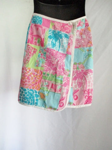 LILLY PULITZER PATCHWORK WRAP SKIRT 8 PINK GREEN BLUE Hippy Preppy Womens