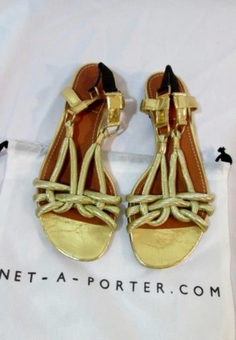 Womens LANVIN ETE 2010 GOLD ROPE SANDAL Flat Shoe 38 / 7.5 Slip-on