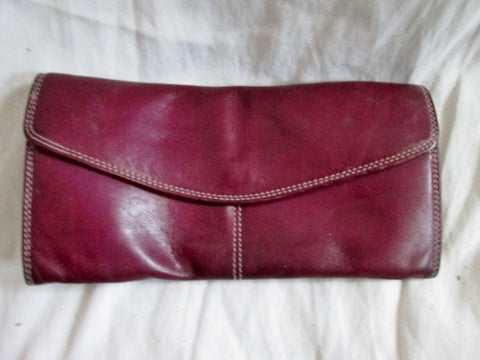BEL ARNO Flap change purse wallet organizer Leather PURPLE MAUVE pouch case