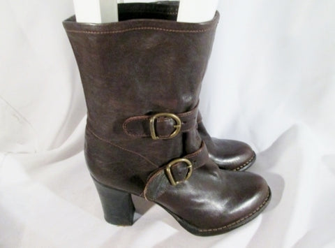 Womens FIORENTINI+BAKER Leather Belted Combat Boots BROWN 41 10.5 ITALY Steampunk