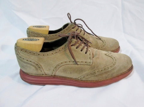 Mens COLE HAAN LUNARGRAND Suede Wingtip Oxford Leather Shoes 10 BROWN Derby