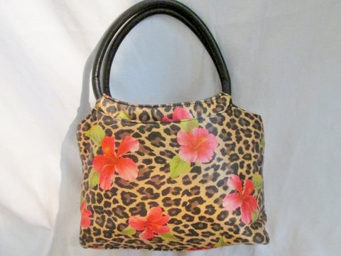 COSTA BLANCA SPAIN Leather Leopard Satchel TOTE Bag Clutch LEOPARD FLORAL