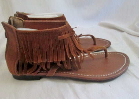 NEW Womens KALLI FRINGE Vegan LEATHER Flat Thong Sandals Shoes 7 BROWN Boho Indie