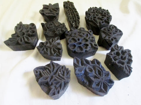 Set 10 WOOD BLOCK Stamp Ethnic Floral Art Rustic Primitive Craft DIY India Decorative