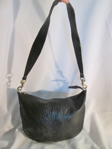 NIEMAN MARCUS ITALY pebbled leather hobo satchel shoulder bag purse BLACK XL