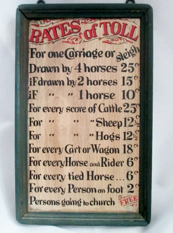 Vintage Wood Tavern Signs of Early America RATES OF TOLL USA Wood Sign Plaque Art Rustic