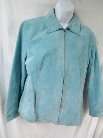 Womens CHICO'S LEATHER suede jacket Hipster Moto Riding Coat BLUE 1 S
