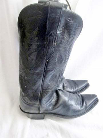 Womens LUCCHESE 1883 Western Cowboy 75407 Leather BOOTS BLACK 8 Rocker Riding
