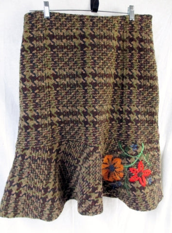 Womens OILILY Wool Floral Embroidered Knit TRUMPET Skirt 6 GREEN BROWN