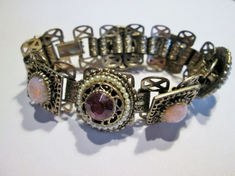 "Chunky 6"" Hinged SILVER Jewel Encrusted Bracelet Faux Pearl PURPLE Bangle Jewelry Body Adornment Cuff"