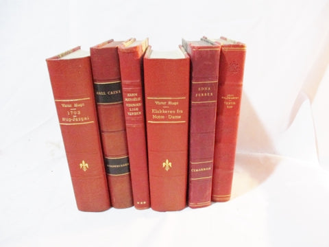Antique 6 Leather Books LOT Decorative Staging RED Home Design Color Therapy