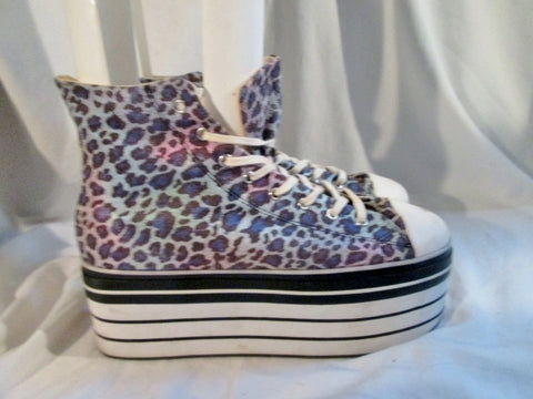 Womens DEENA & OZZY Hi-Top PLATFORM Sneaker Shoe LEOPARD 10 Vegan PURPLE BLUE