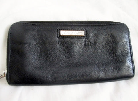 Genuine CALVIN KLEIN Continental ZIP Wallet Organizer Leather Purse Clutch BLACK