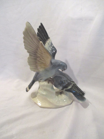 "14"" CORTENDORF BIRD PIGEON Ceramic Folk Art Figurine Sculpture BLUE"