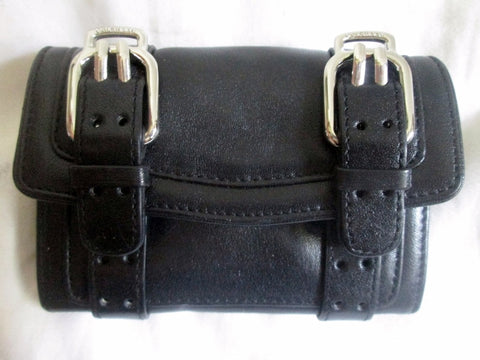 COLE HAAN Mini Signature Leather Flap Purse Wallet Pouch BLACK Two Buckle