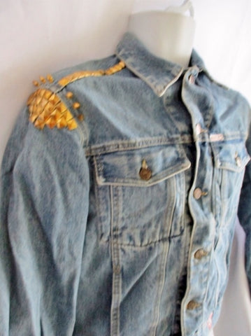 GEORGES MARCIANO GUESS Denim Jean SPIKE  jacket BLUE S Trucker