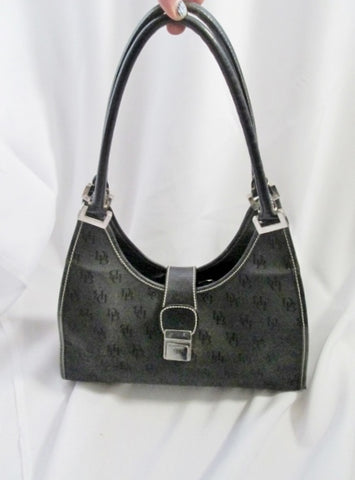 c2a2a73de DOONEY & BOURKE Canvas Leather Hobo Purse Satchel Shoulder Bag BLACK LOGO  SIGNATURE