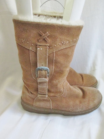 Womens WHITE MOUNTAIN OYSTER Suede Leather Ankle BOOT Booties Winter 7.5 BROWN