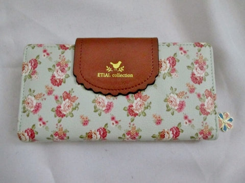 NEW ETIAL COLLECTION Continental Wallet Zip Case Pouch Bag Vintage BLUE FLORAL Organizer