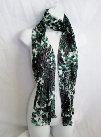 BALENCIAGA PARIS Italy SILK Blend SCARF GREEN BLACK GRAY LEOPARD Animal Print