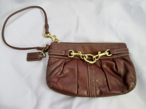 COACH Ruched Leather Wristlet Purse Baguette Bag Case  Harness BROWN Pouch