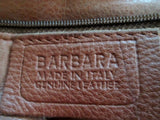 BARBARA ITALY leather croc nylon clutch tote bag satchel hobo purse BROWN L