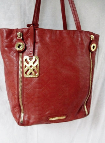 JOELLE HAWKENS GEOMETRIC leather tote satchel shoulder bag carryall RUST ORANGE BROWN