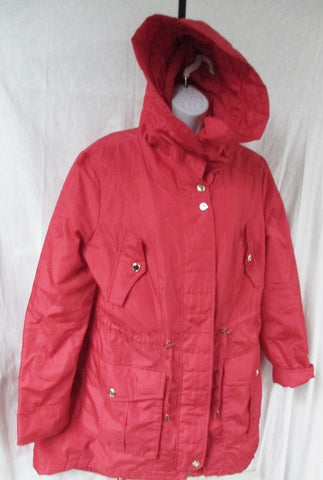 Womens Ladies STEVE MADDEN Hood COAT Jacket PARKA Boho FIRE RED L
