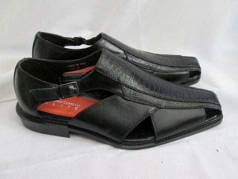 NEW Mens ANTONIO CERRELLI ELITE 6362 Croc Gator Dress Shoe Sandal 12 BLACK Faux Leather