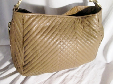 NEW CYNTHIA ROWLEY Quilted Leather Hobo Shoulder Bag Purse BROWN TAUPE