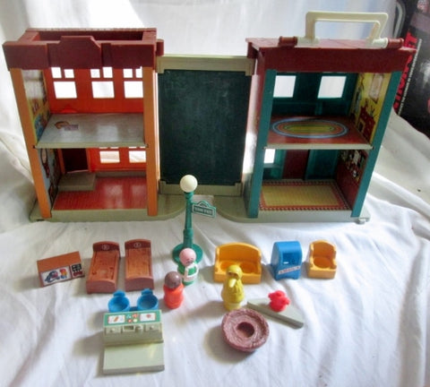 Vintage 1974 FISHER PRICE 938 SESAME STREET Little People Playset Furniture Accessories +
